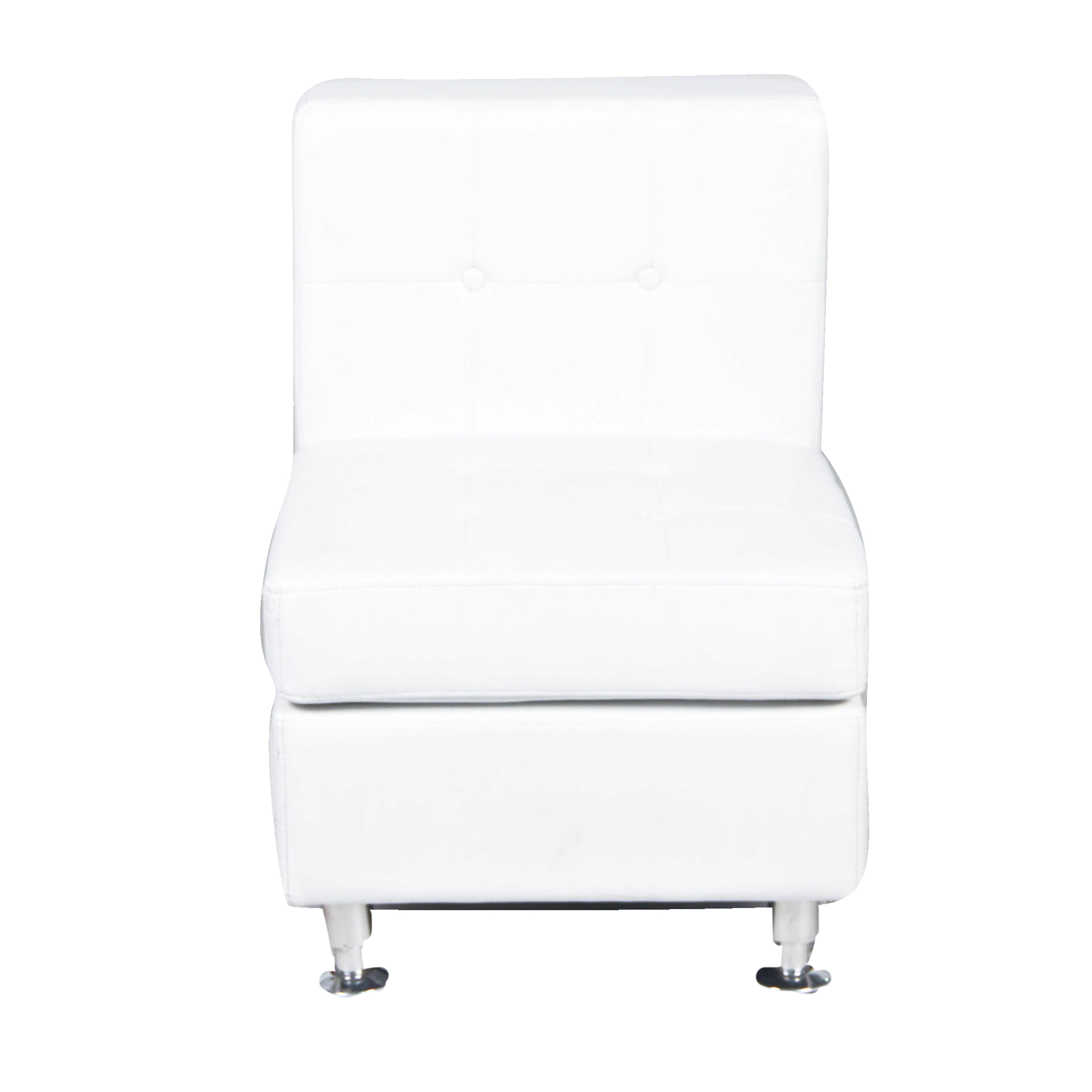 White Leather Tufted Chair Short Back