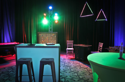 Lounge Staging with AV Lighting, Bar Stools, Chiavaris, and Props