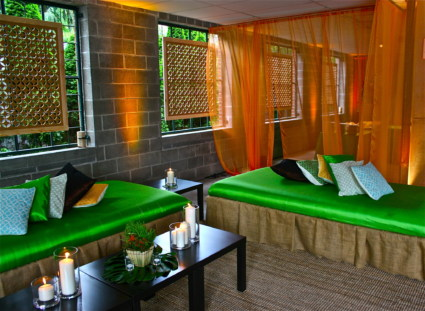 Lounge Area with votives, pillows, and draping