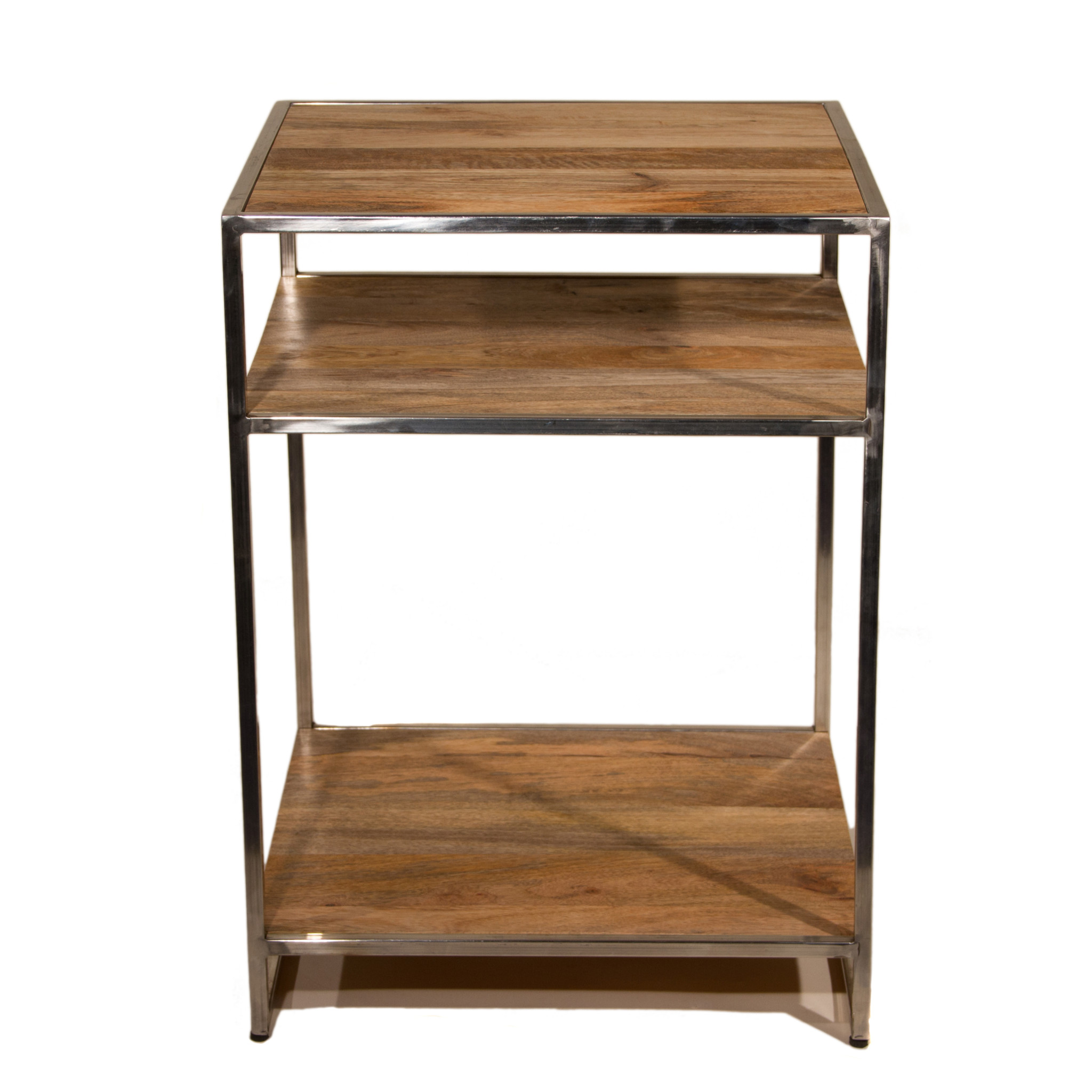 Wood Three Shelf Side Table