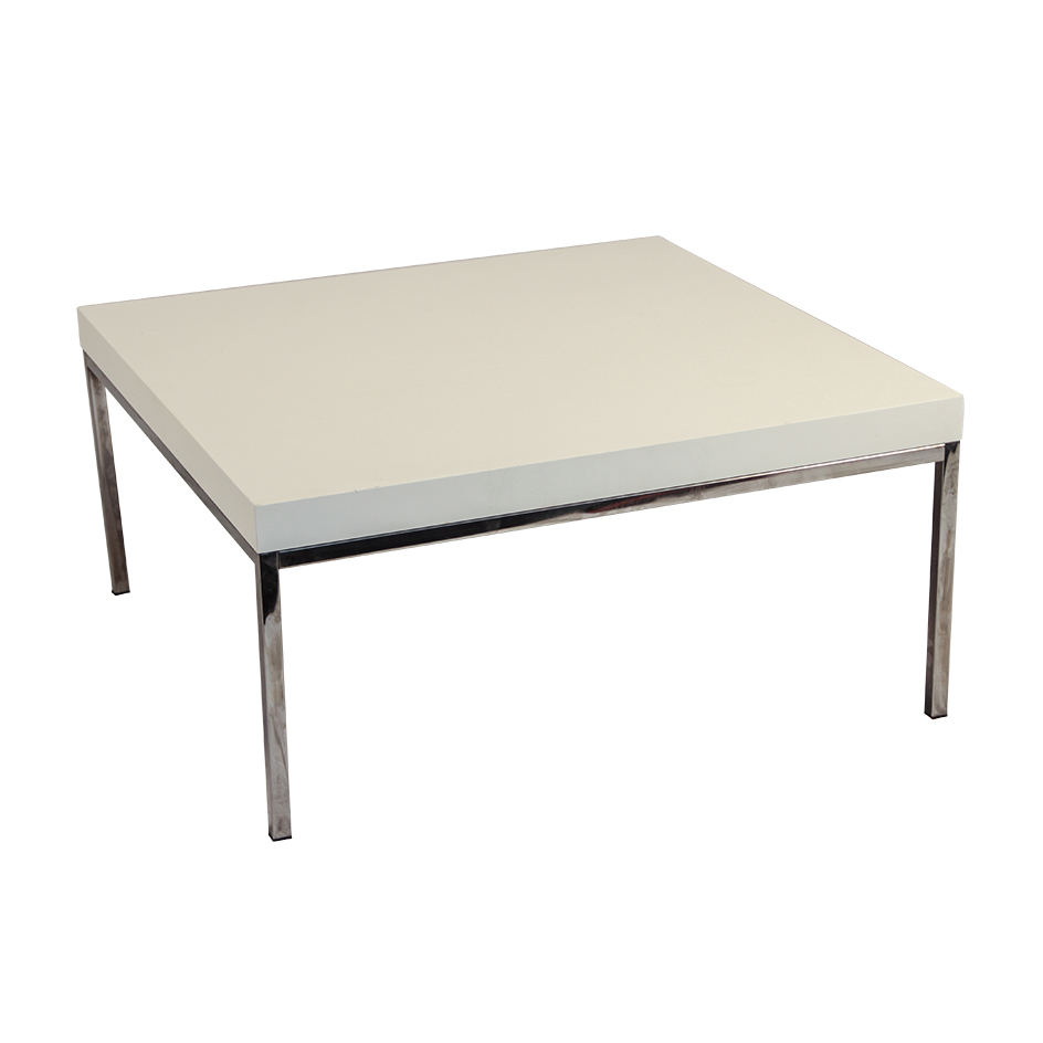 White Coffee Table With Chrome Legs