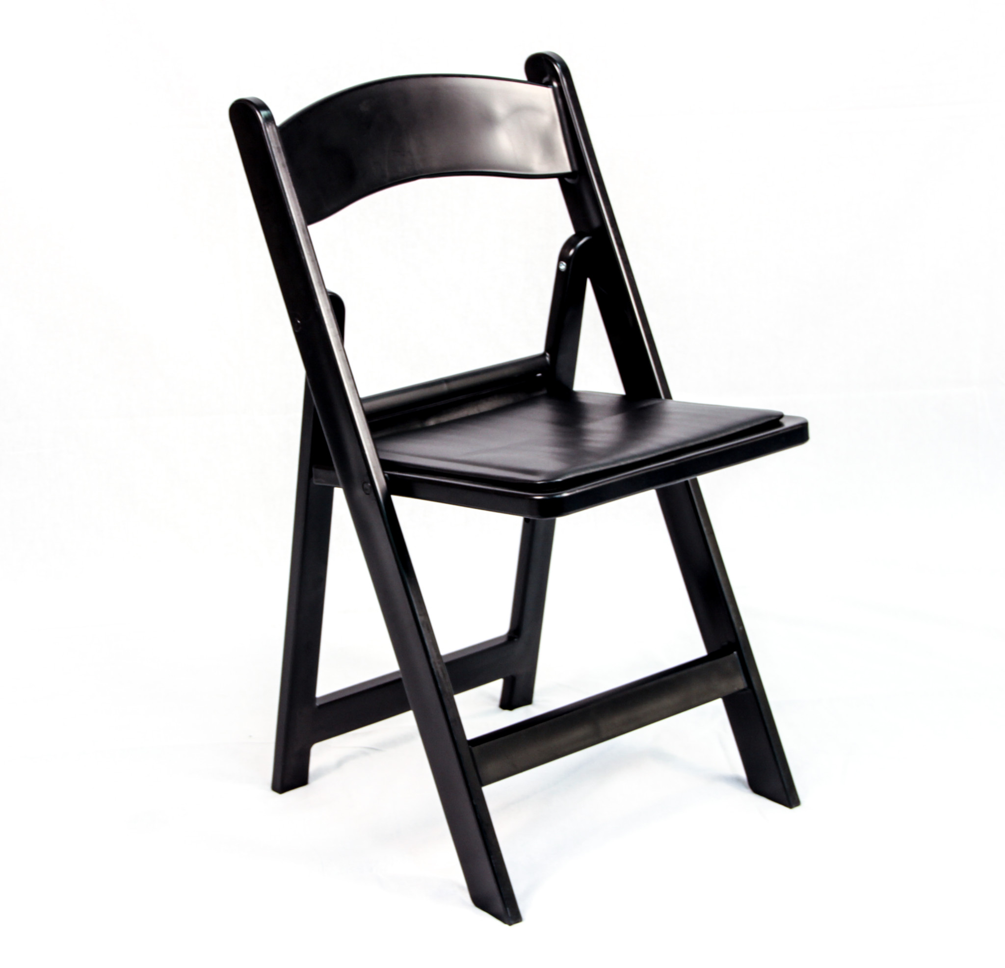 Black Resin Folding Chair With Padded Seat Peter Corvallis Productions Tent Party Wedding Rentals Portland Rental Decor Portland
