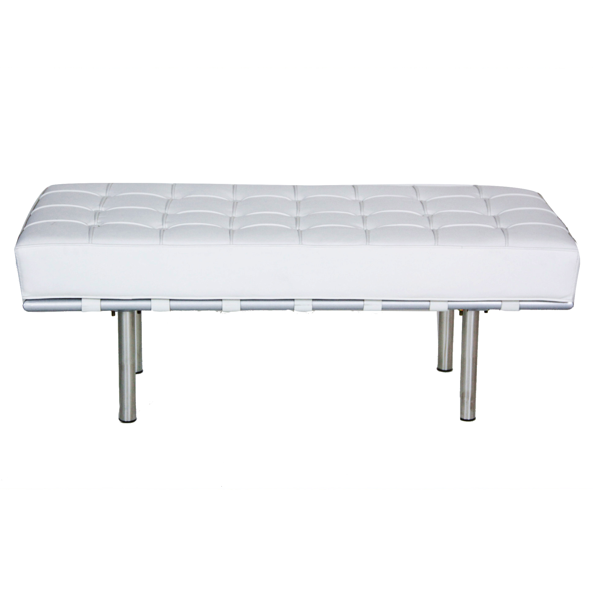 White Leather Tufted Bench Peter Corvallis Productions