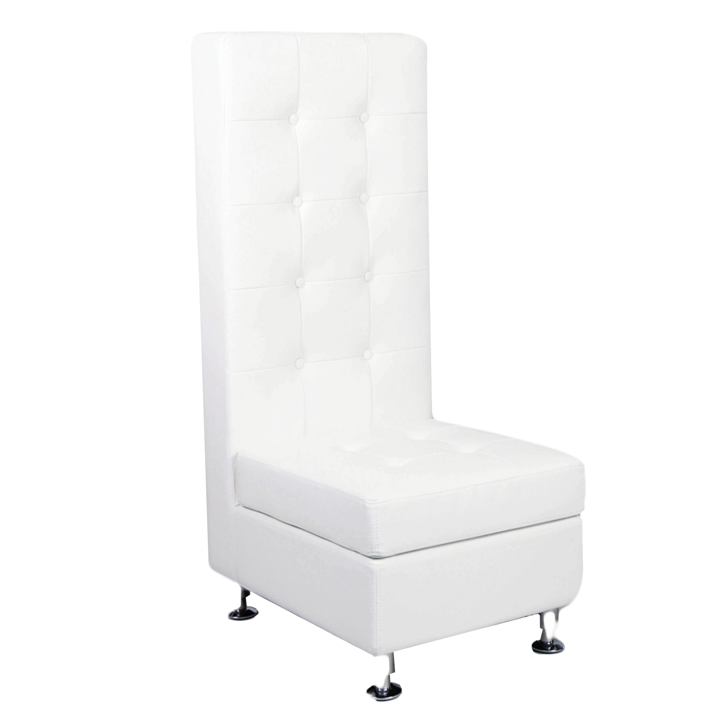 White Leather Tufted Chair Tall Back Peter Corvallis